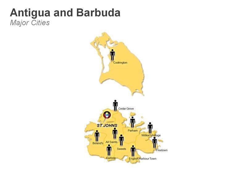Antiqua and Bermuda Population Cities Map PPT