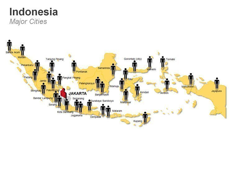 Populated Cities Map of Indonesia PPT Slide