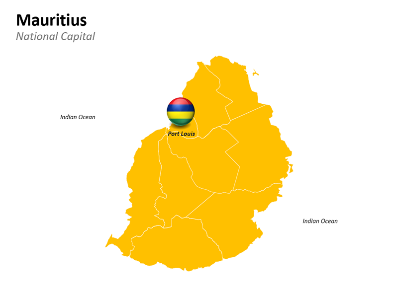 Mauritius Map National Capital Port Louis - Editable PowerPoint Slide
