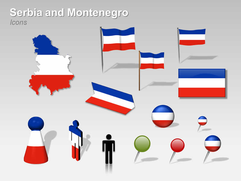 PowerPoint Cliparts on Serbia and Montenegro Map