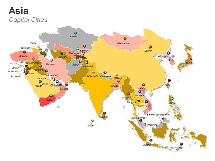 Editable PowerPoint Map of Asia Cities