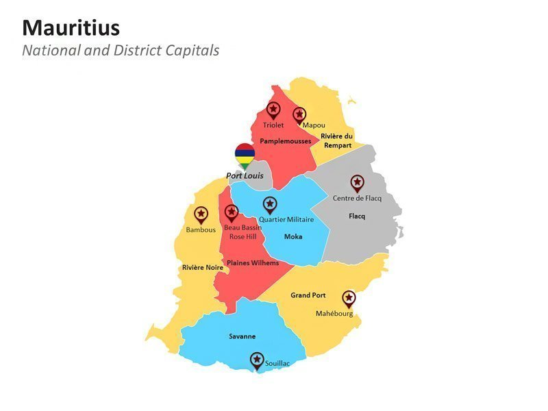 PPT Map of Mauritius - District Capitals