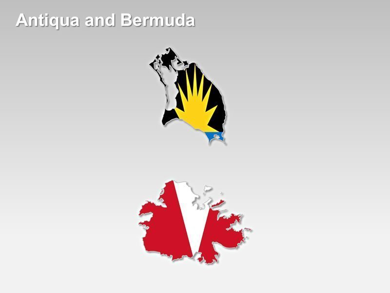 PowerPoint Flag Map of Antiqua and Bermuda