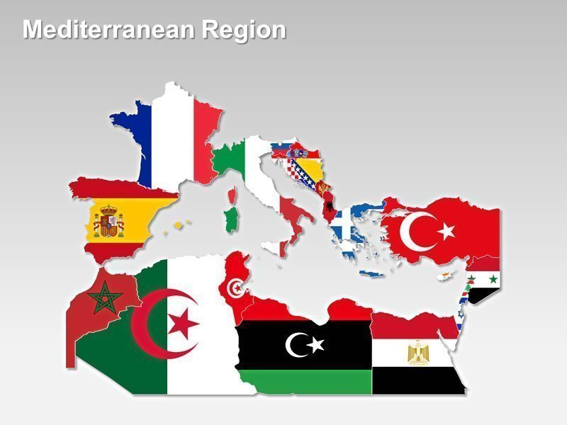 Editable PPT Template of Flags of Mediterranean Countries