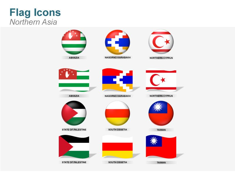 Partially recognized and unrecognized states Flag Icons