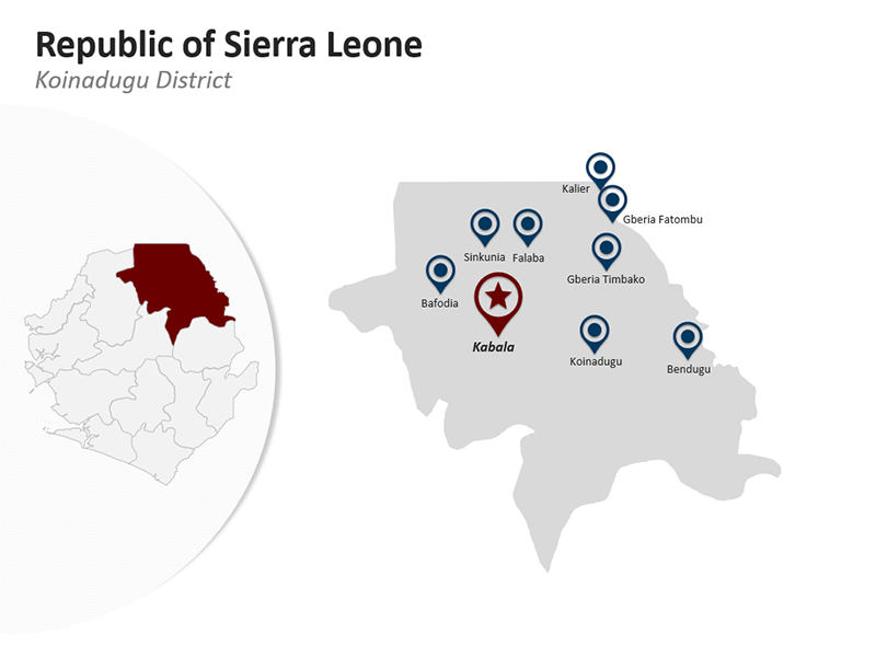 Editable PPT Map - Republic of Sierra Leone - Koinadugu District