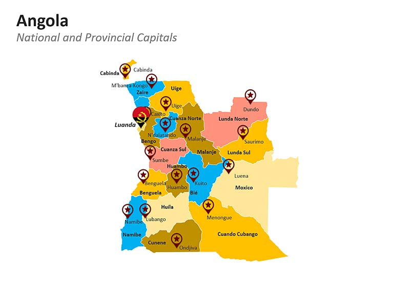 Editable PPT Template of Political Map of Angola with National and Provincial Capitals
