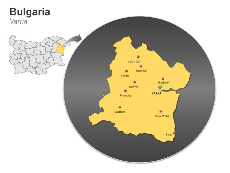PowerPoint Map of Bulgaria - Varna