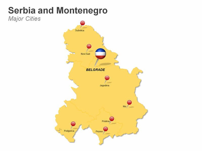 Serbia and Montenegro Cities Map PPT