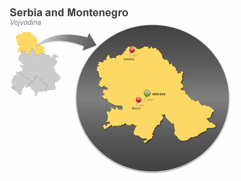 PPT Map of Serbia and Montenegro - Vojvodina