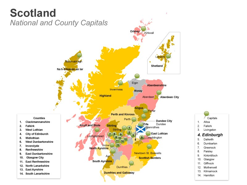 Scotland - National and County Capitals Map PPT