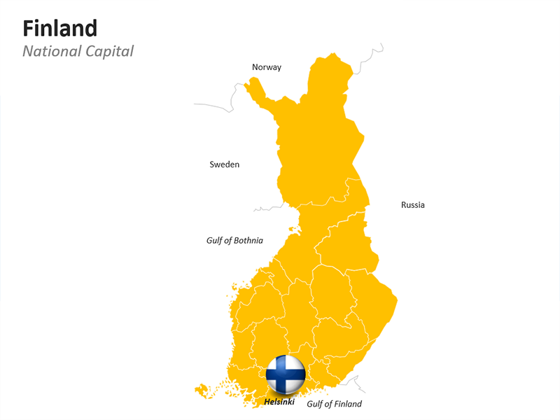 Finland Map - Political - Editable PowerPoint Slide