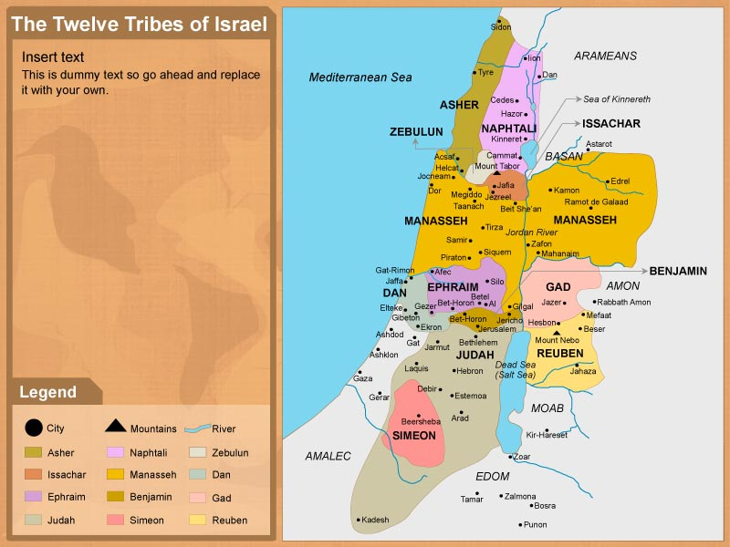 The 12 Tribes of Israel Map in PowerPoint Format