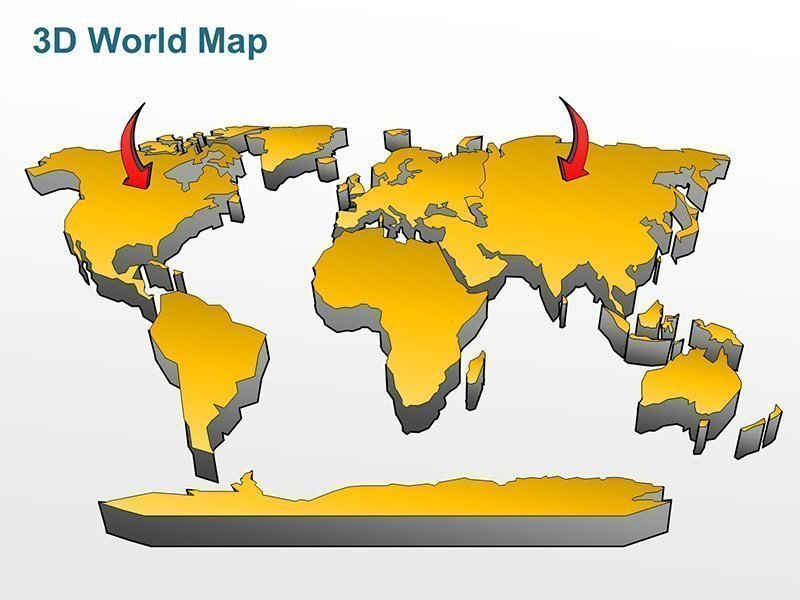 Editable Yellow Gradient 3D World Map PPT Presentation Template