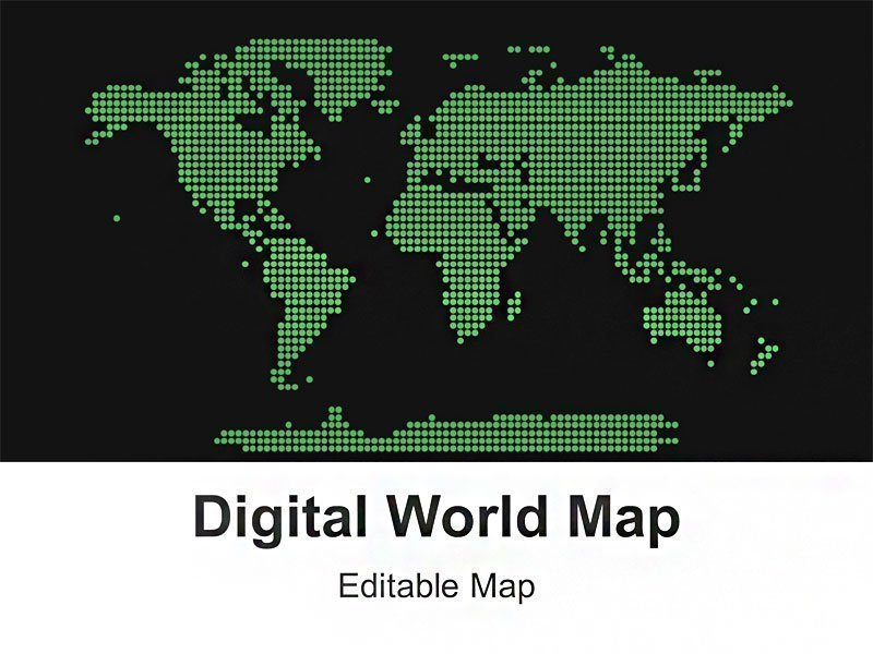 Editable Green Digital World Map PowerPoint Template