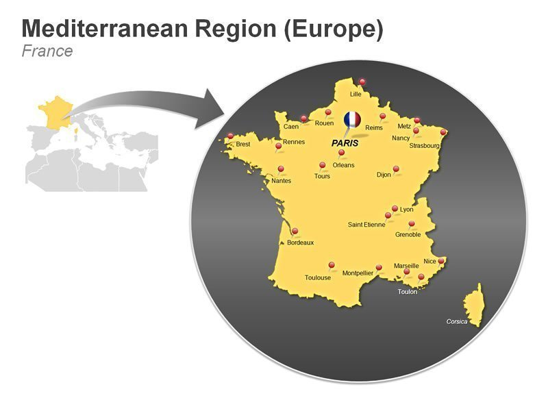 Editable PowerPoint Slide of Mediterranean Region of France