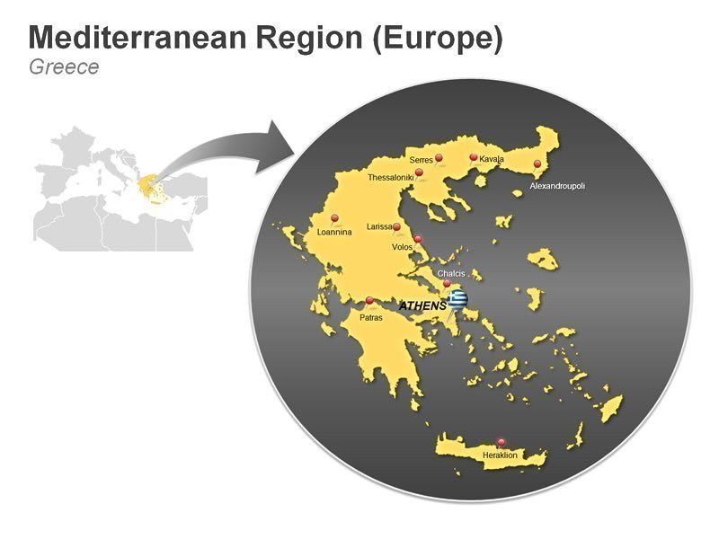 Editable PPT Slide of Mediterranean Region (Europe) of Greece