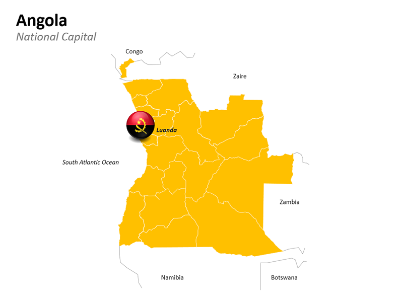 Angola Map showing capital Angola - Editable PowerPoint Slide