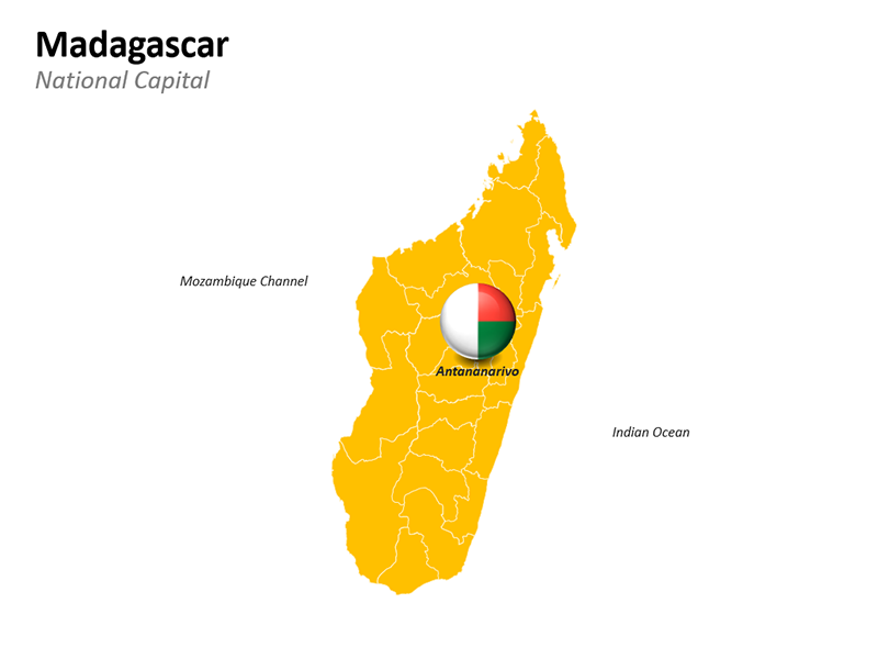 Madagascar Map with National Capital Antananarivo - Editable PowerPoint Slide