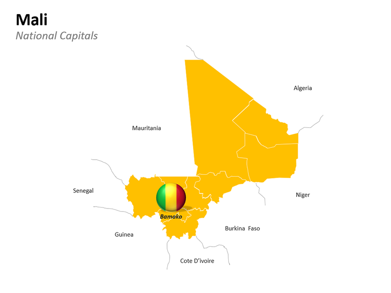 Mali with National Capital Bamako - Editable PowerPoint Slide
