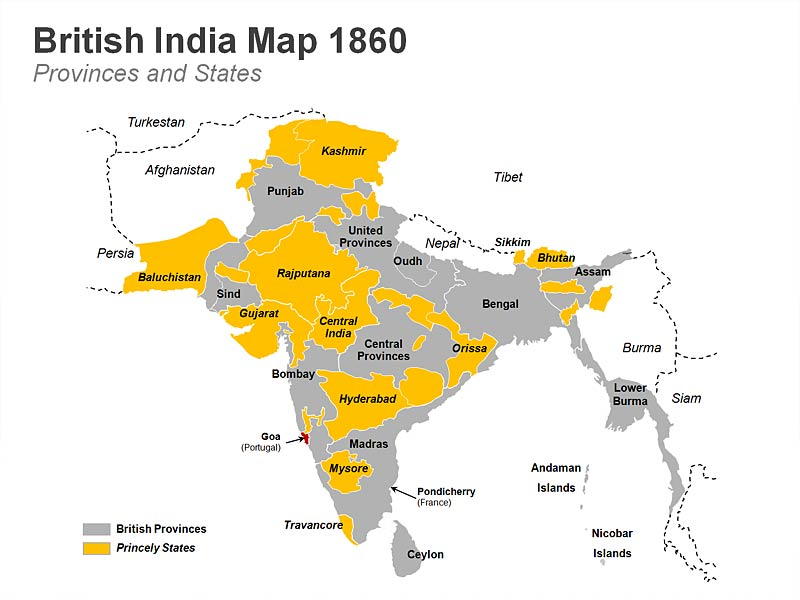 British India PPT Map Featuring British Provinces & Princely States