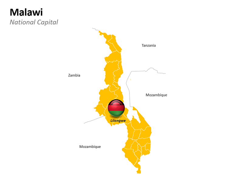 Malawi with National Capital Lilongwe - Editable PowerPoint Slide