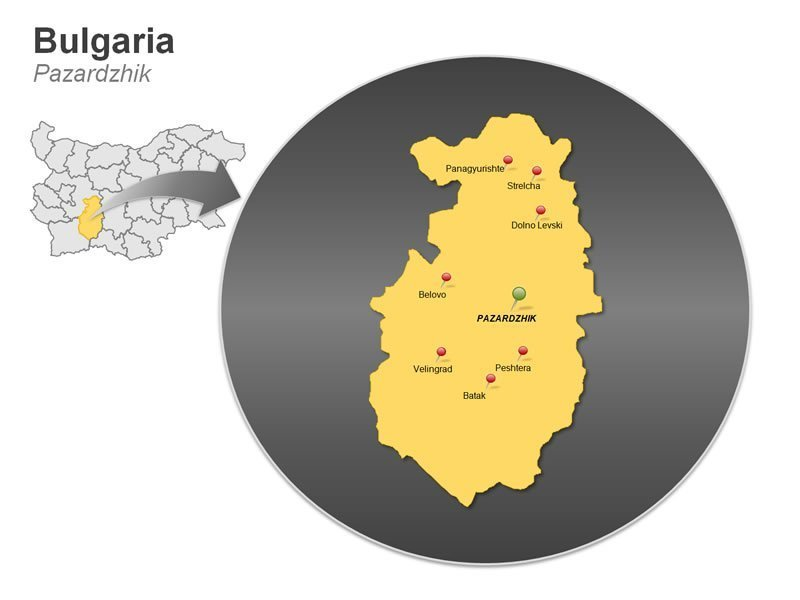 PowerPoint Map on Bulgaria - Pazardzhik