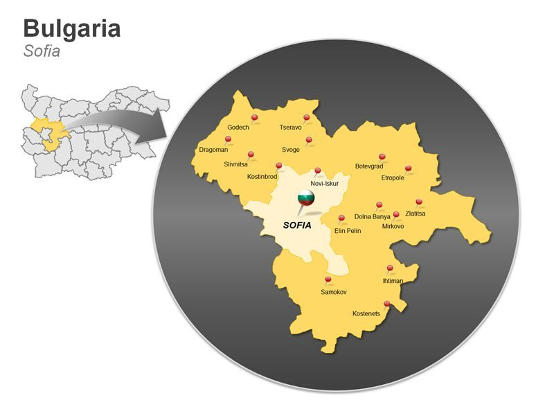 PowerPoint Map on Bulgaria - Sofia