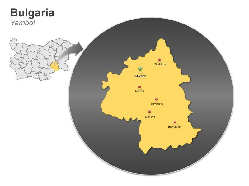 PowerPoint Map on Bulgaria - Yambol