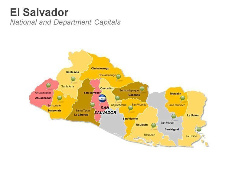 PowerPoint Slide Map of El Salvador - Department
