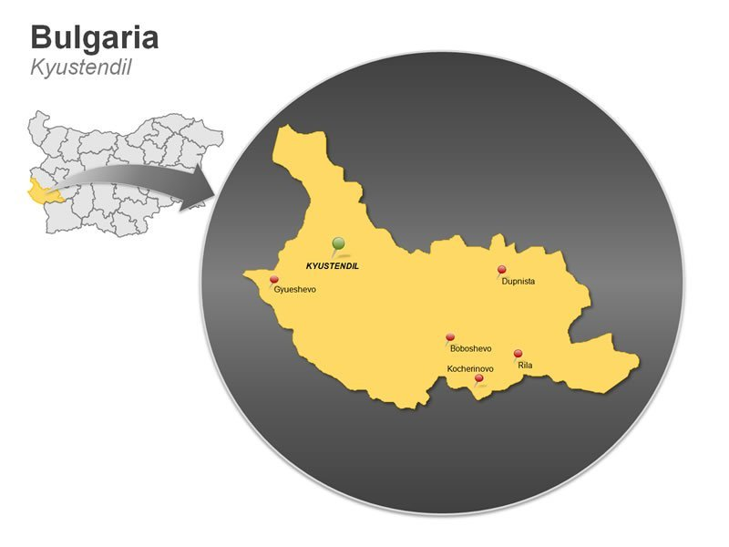 Kyustendil Bulgaria Map PowerPoint