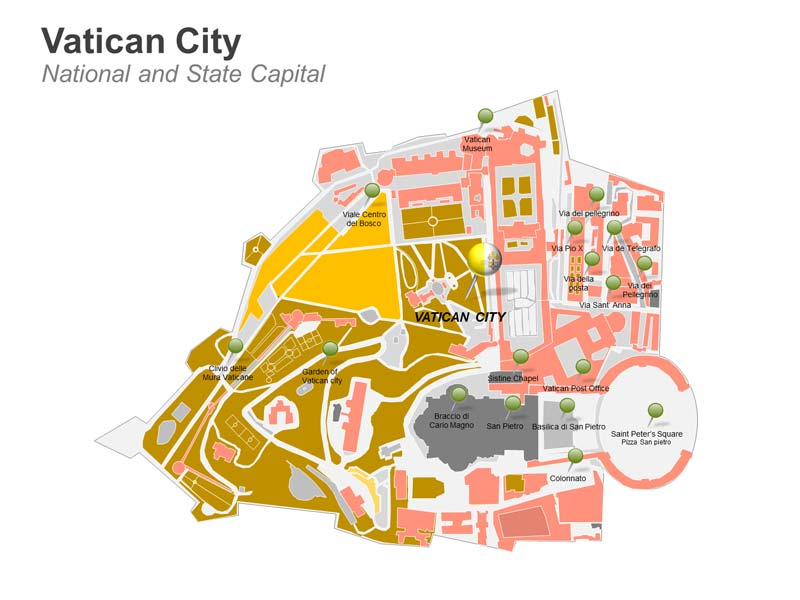 Vatican City PPT Map - National and State Capital