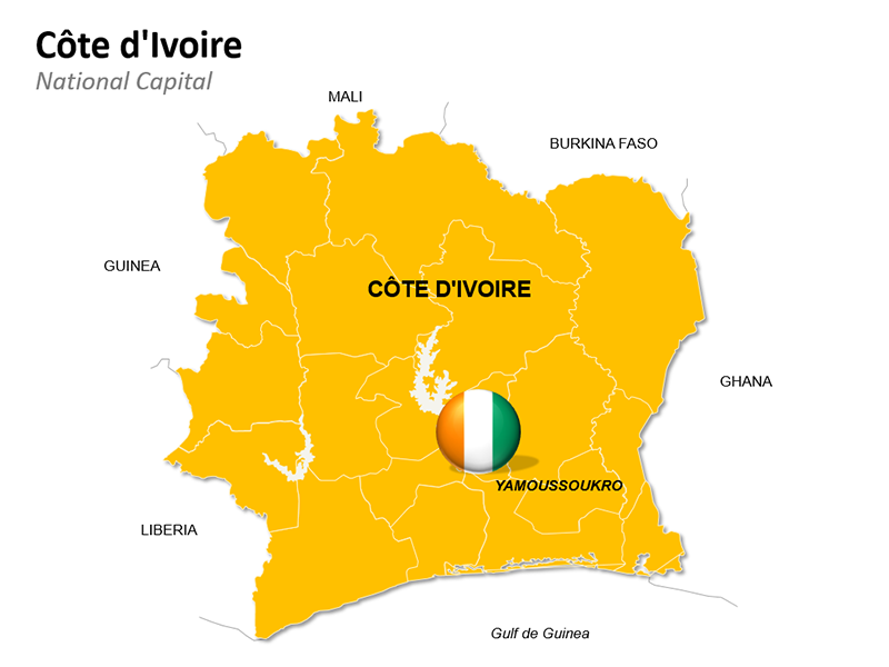 Côte d'Ivoire Map - Editable PowerPoint Slide