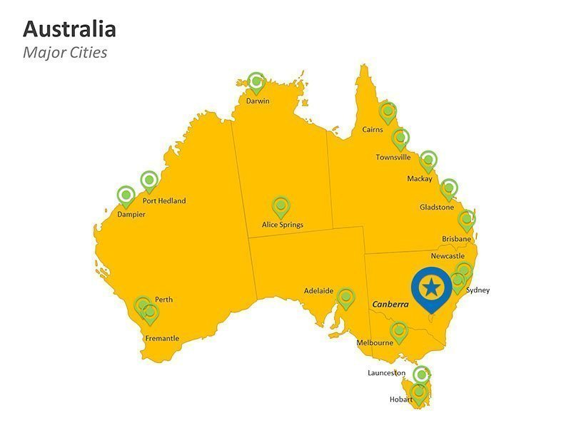 Major Cities in Australia PPT Map