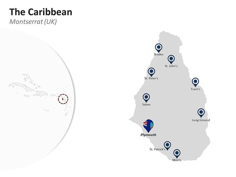 Editable PPT Template of the Caribbean Country Map of Montserrat (UK)