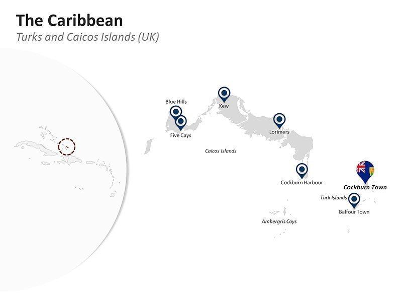 Editable PPT Slide of Map of Turks & Caicos Islands (UK) in The Caribbean