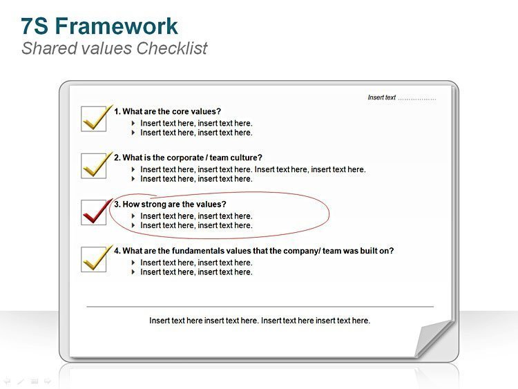 Business Diagram 7S FrameworkShared values Checklist