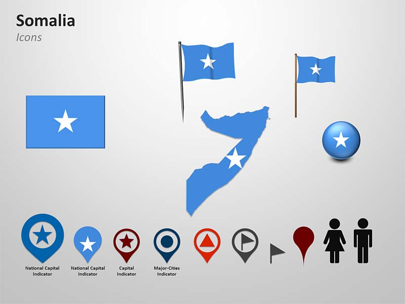 Somalia Flags Map - PowerPoint Illustration