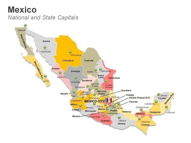 States Map of Mexico PowerPoint Slides
