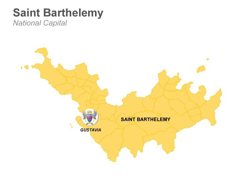 Saint Barthelemy Map - Easy to edit PPT template