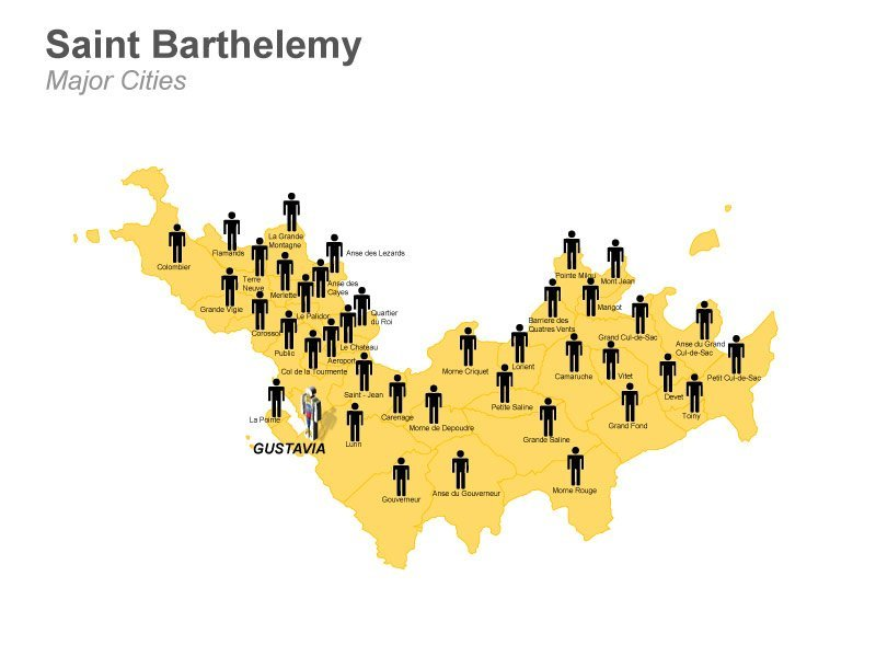 Saint Barthelemy Population Cities Map - PPT Slide
