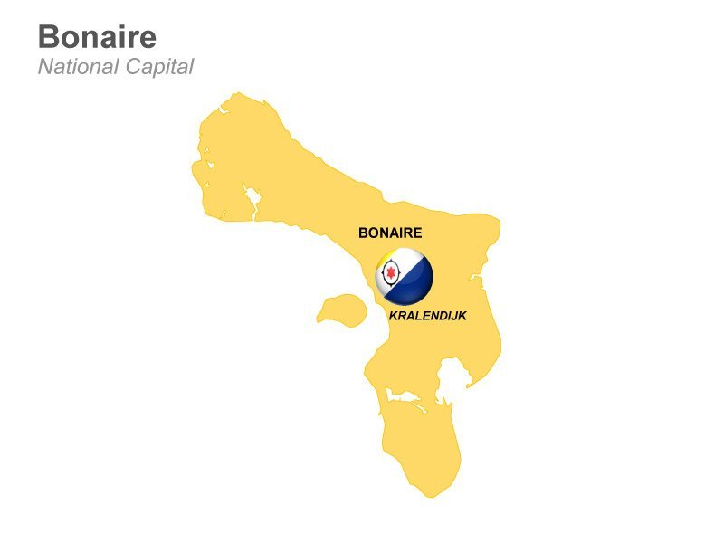 Bonaire with Kralendijk Capital Map of PPT Slides
