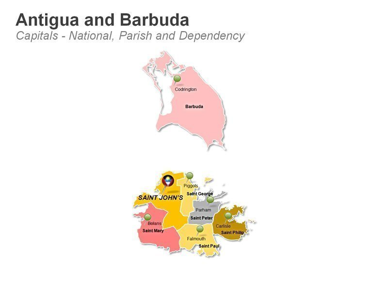 PPT Map Antigua and Barbuda - Parish and Dependency