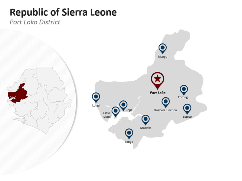 Editable PPT Map - Port Loko District - Republic of Sierra Leone