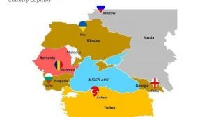 The Black Sea Region PPT Map Slide showing Country's Capital