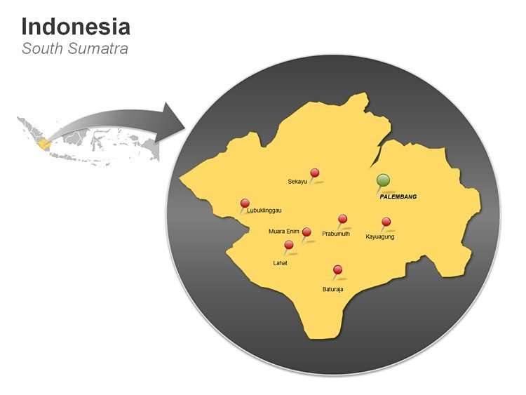 Map of Indonesia - South Sumatra