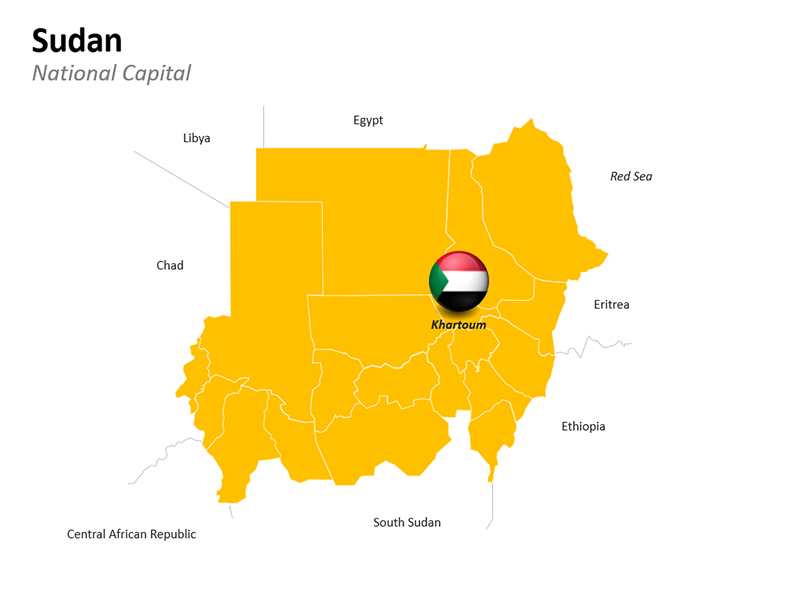 Sudan with National Capital Khartoum - Editable PowerPoint Slide