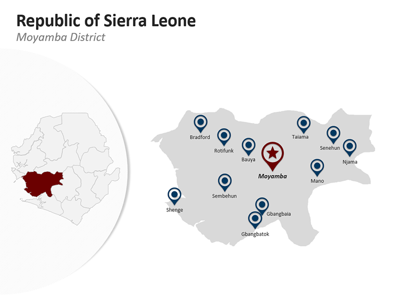 Moyamba District - Republic of Sierra Leone - Editable PPT Map
