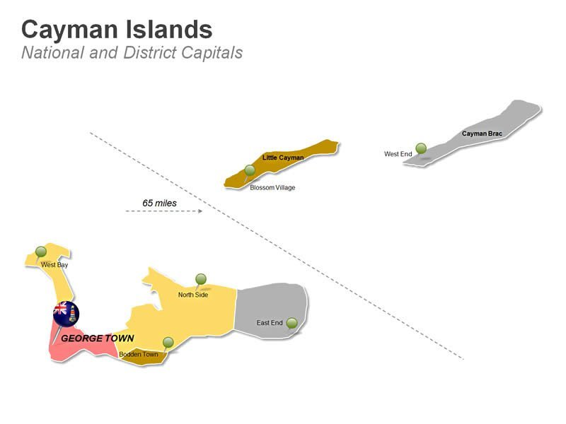 Cayman Islands District Map PPT Slide