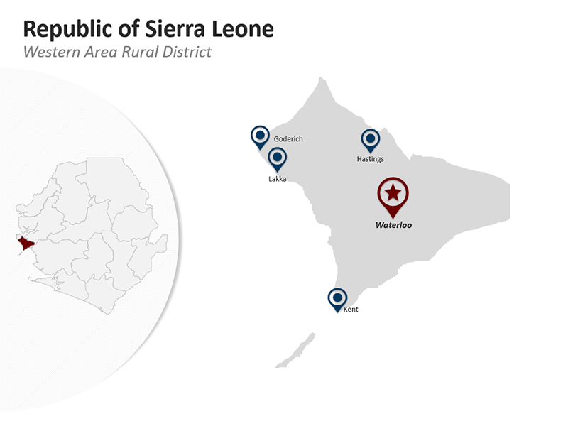 Republic of Sierra Leone - Western Area Rural District - Editable PPT Map